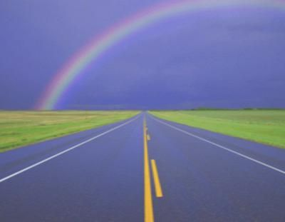 Rainbow over a Highway Microsoft PowerPoint Templates