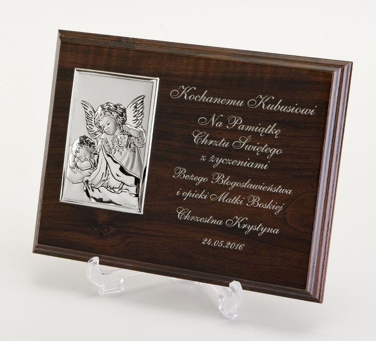 Obrazek Srebrny z Aniołkiem  z Indywidualną Dedykacją