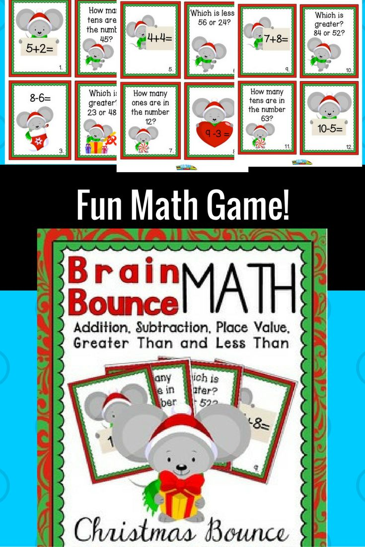 Since our Candy Brain Bounce was so popular, we decided to create this fun Christmas Math Brain Bounce game! It is a math game that helps your kiddos practice addition, subtraction, greater than and less than, and place value. This great Christmas math game is one of our Brain Bounce math games that facilitates ELA and Math skills for your kids. You can also use these Christmas game cards in a Christmas math center or as a Scoot game.
