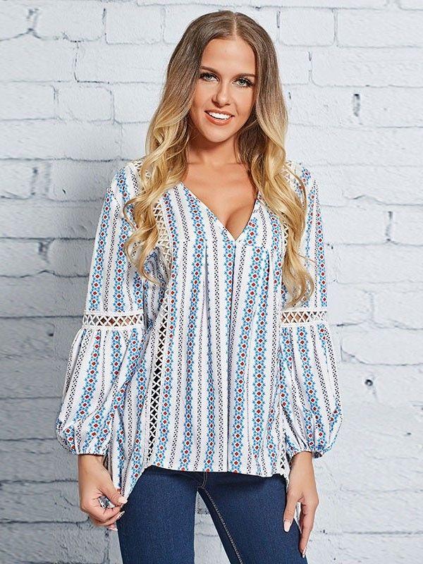 bfcc011426039 Dresswel Women Boho Cutout Floral Print Asymmetric Blouse Tops  16.99   dresswel  women  tops