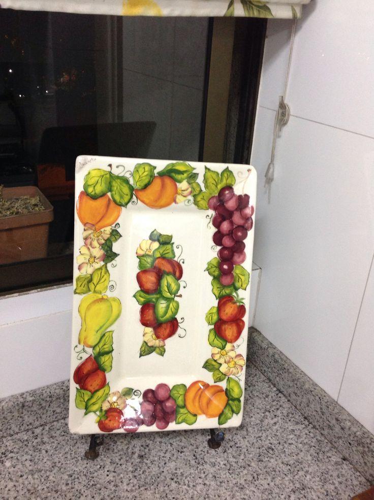Pint cerámica frutas