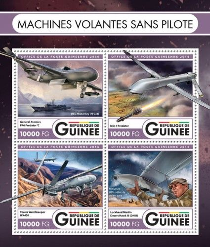 GU16423a Unmanned flying machines (General Atomics P46 Predator 'C, USS McInerney (FFG-8); MQ-1 Predator; Thales Watchkeeper WK450; Lockheed Martin Desert Hawk III (DHIII), Miniature UAV (vehicle driving without pilot))