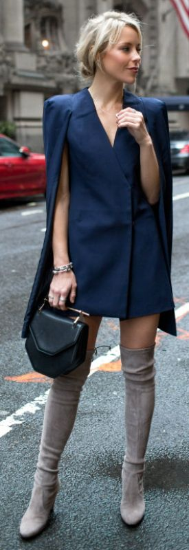 Thigh high boots + blazer dress + sophisticated and glamorous look + Mary Seng.  Blazer: Nordstrom, Boots: Stuart Weitzman.