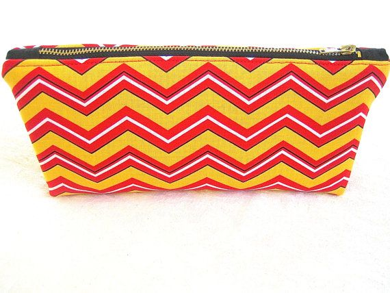 Red Yellow Black Chevron Fabric  Zip Pouch by ArabellaBlossomsBags