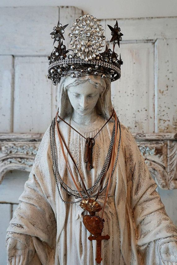 Large Virgin Mary statue w/ halo shabby cottage chic Madonna figure hand painted rosary w/ floral crown French Santos home decor anita spero design  34 tall 15 wide and 13 deep  I painted and distressed this to appear to be plaster. I reused a crown which was pretty, but it needed something. I added a very sparkly high end rhinestone jewel piece to the front. The bottom is wrapped in rhinestones. Because the crown is larger than the head (which I love) I also made a halo of mercury ...