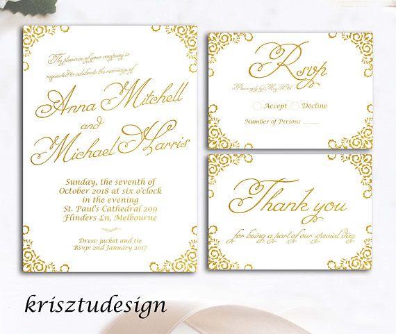 Gold InvitationRSVP cardThank you cardWedding invitation