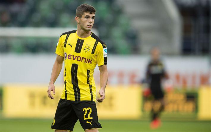 Download wallpapers Christian Pulisic, 4k, BVB, soccer, footballers, Borussia Dortmund, match, Bundesliga