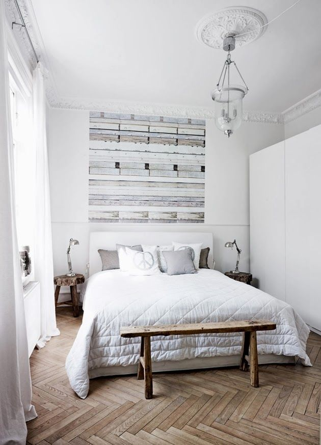 Bedroom with herringbone floor - Daily Dream Decor - this floor is everything.