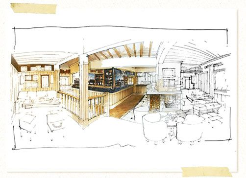 interior sketches and hand rendered marker visuals by