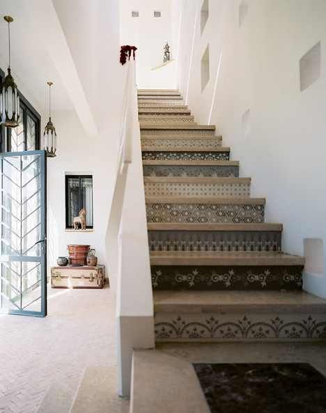 I like the tile on the first riser. I would do them all the same with hardwood treads.