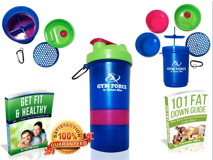 Bodybuilding Shaker Bottle | GYM FORCE #1 Weight Loss Diet BPA Free Smart Protein Shakers Quality Guaranteed with Travel Compartment Stainless Steel Blender Ball