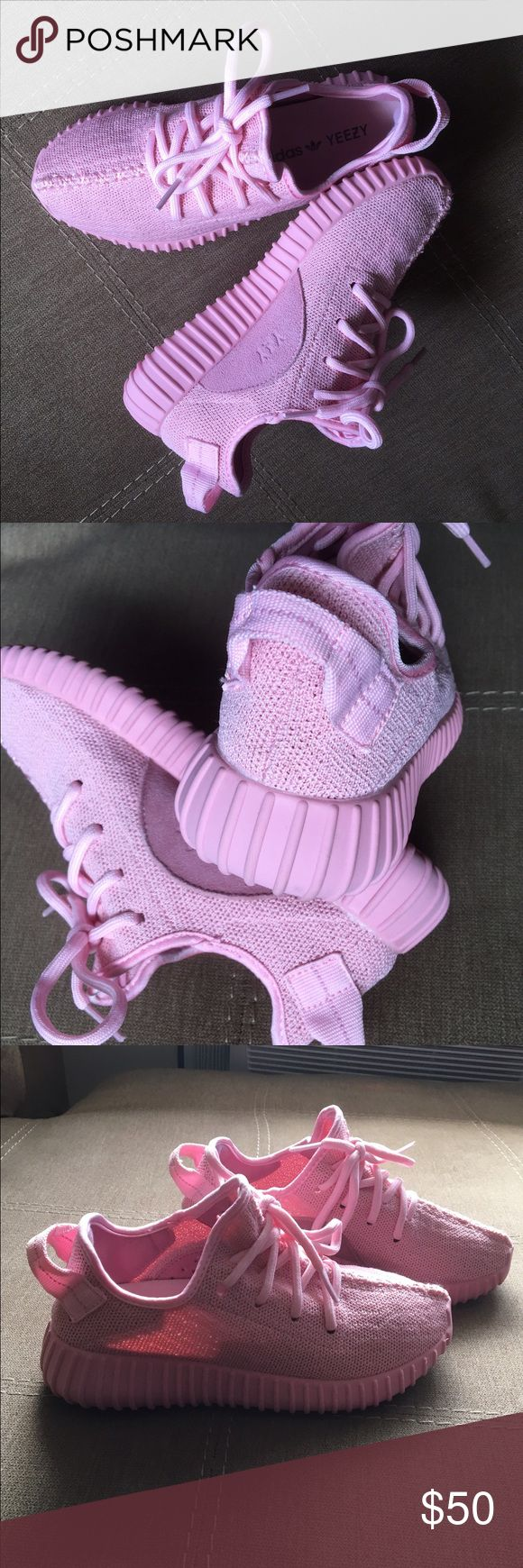 cute pink yeezy for tiny feet. not the real ones for those who like it unique and stylish, im selling this cute pink yeezy size 5.  not a real boost, looks great on feet.  no box as is. Super clean.  tried it on and took a pic.  this is one hot piece of 350's.  what u see is what u get.  don't miss out selling it for a low price. Yeezy Shoes Sneakers