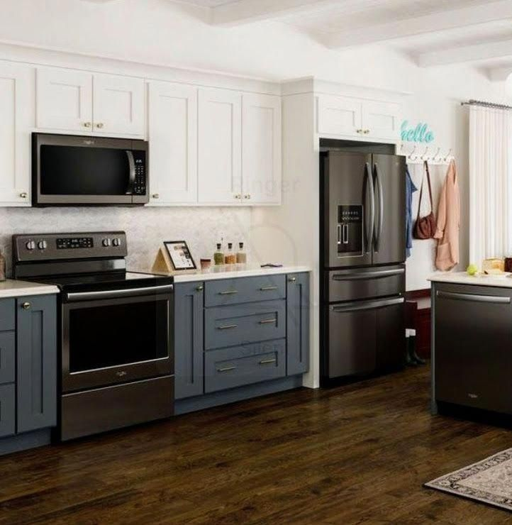 This Is My Dream Top Cabinets White Bottom Cabinets Grayish Blue Gold Hardware A Black Appliances Kitchen Kitchen Renovation Black Stainless Appliances
