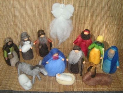Christmas NATIVITY SCENE (complete set) needle felted using 100% NZ wool. | Felt
