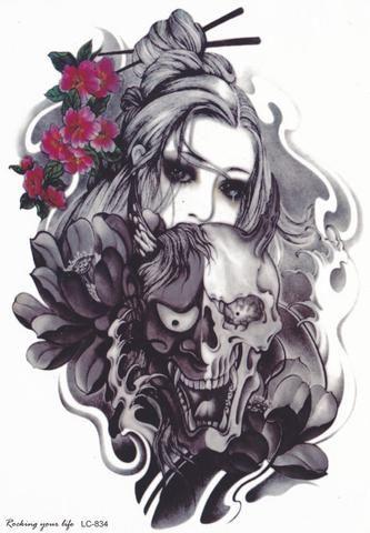 Gothic Lady Skull Tattoo at MyBodiArt