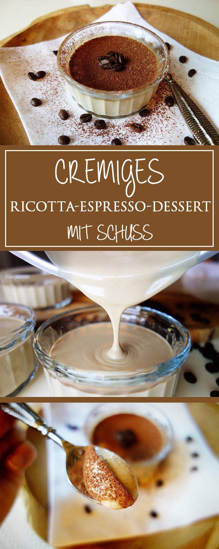 Cremiges Ricotta-Espresso-Dessert mit Schuss - das wohl einfachste italienische Dolci-Rezept: eine leckere Kombination mit etwas Rum ... unwiderstehlich gut!  | cucina-con-amore.de