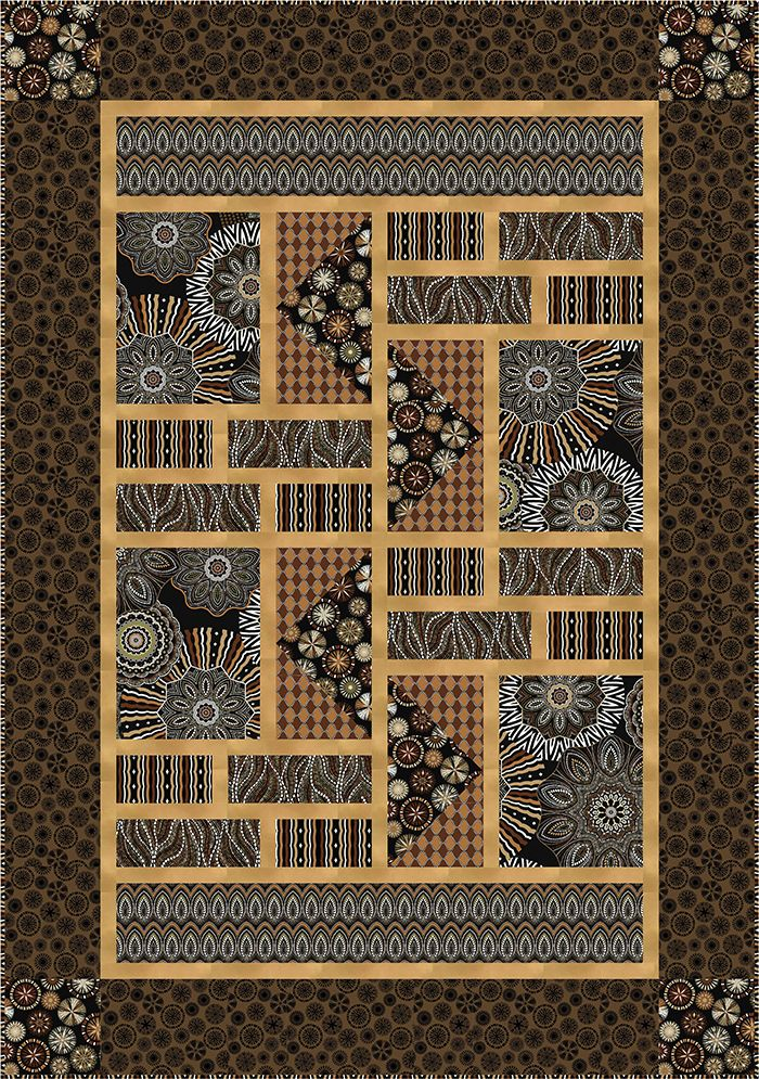 """Check out our FREE """"Amber Dreams"""" quilt pattern using the collection, """"Origins"""" by Jennifer Young from Benartex. Designed by Stitched Together Studios. Finished size: 47"""" x 67""""."""