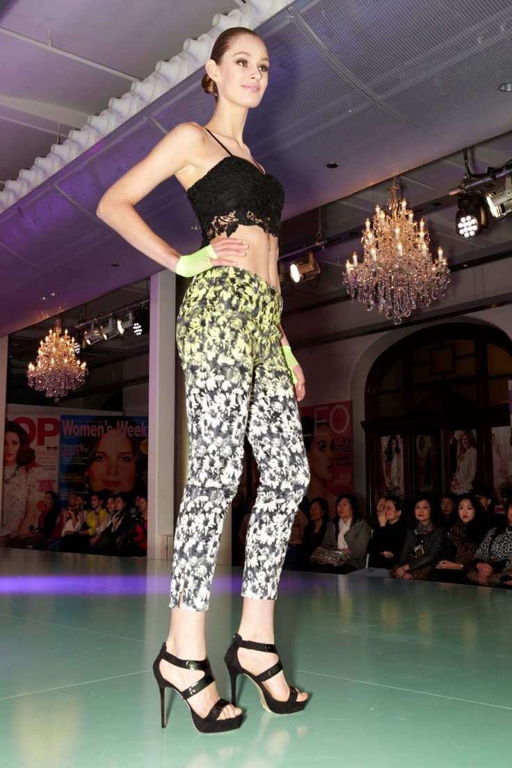 Graphic ombre floral pants & black lace bustier from Bardot @ 30 days of Fashion & Beauty