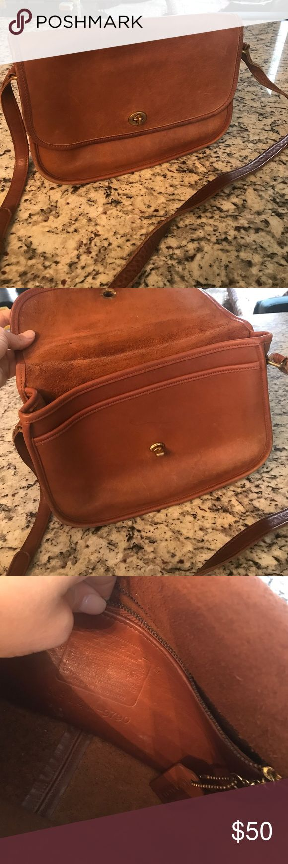 Vintage camel coach bag Vintage camel coach bag. Great size. Shoulder strap. A zip pocket and two other pockets. There are two slight pen marks on inside, but overall good condition Coach Bags Crossbody Bags