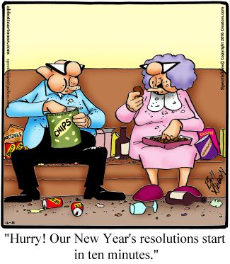 """Spectickles"" Cartoon A Day - Cramming for the New Year's Resolutions - Bill Abbott Cartoons"