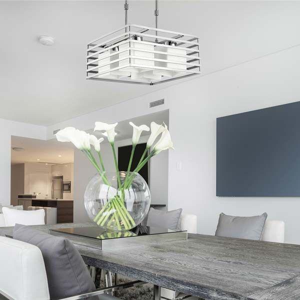 L mpara techo cell plata 4 luces estilo moderno - Lamparas de techo para comedor ...