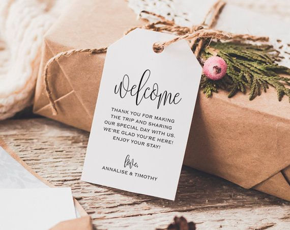 Purchase this item to receive custom shaped Wedding Welcome Printable PDF Tags. INSTANTLY DOWNLOAD, edit and print your high resolution tags after your payment is complete! H O W ⋆ I T ⋆ W O R K S ---------------------------------------------- 1. Checkout & download file(s) 2. IMPORTANT: Open the PDF in Acrobat Reader — Free Download: www.get.adobe.com/reader 3. Update highlighted text field(s) (Files are pre-populated as a guide) 4. Print on your home printer or at a local copy sho...