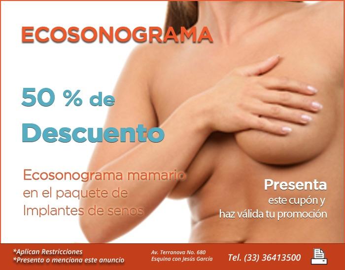 Promociones-paquetes - Salutaris  50% descuento en tu ecosonograma mamario con tu paquete de implantes de seno.   en Salutaris Guadalajara Mexico  www.salutaris.mx