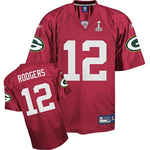 Reebok Green Bay Packers Aaron Rodgers Super Bowl XLV Red QB Practice Jersey
