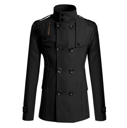 Mens Coat Double PEA Wool Half Trench Coat (868) Doublju