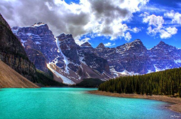 Mi lago Moraine Canadá también llamado el lago de los diez picos, ésas preciosas montañas son las Rocosas Canadienses que alcanzan fácilmente los 3000 metros de altura,se encuentran en la provincia de Alberta