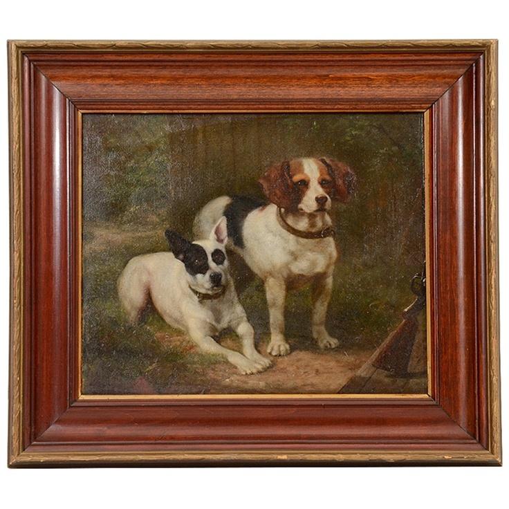 19th Century Oil on Board Dog Portrait by C M R Schreiber