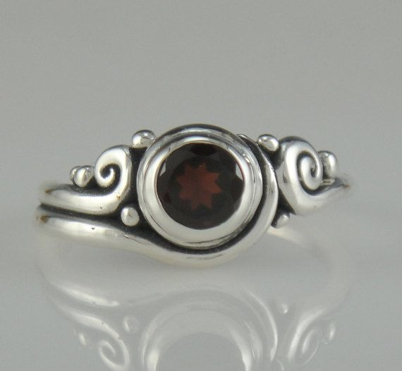 Sterling Silver 6 mm Garnet Ring- One of a Kind