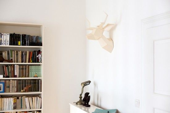 Tête de cerf en papier nacré par foldeer