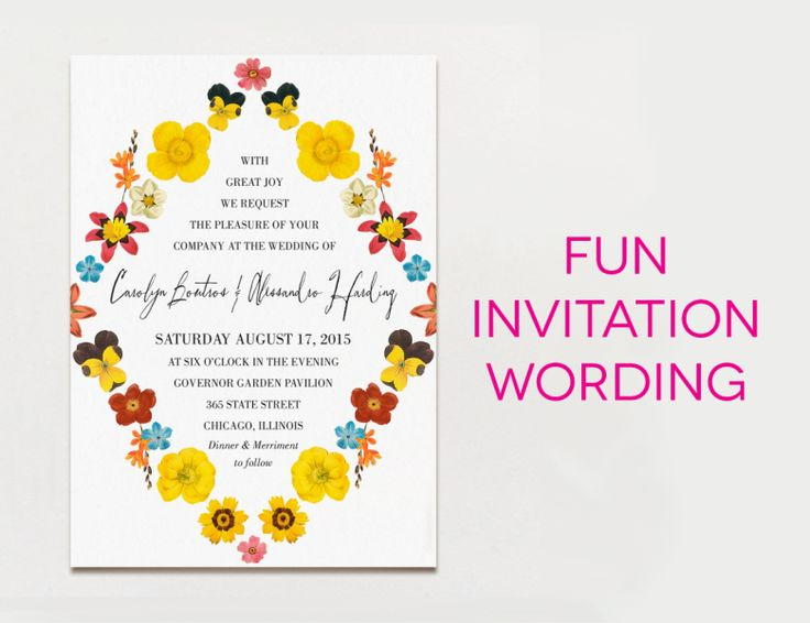 "White wedding invitation with black type and brightly colored flowers, with the text ""fun invitation wording"""