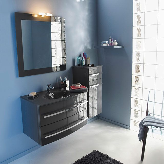 Meuble de salle de bains gris 80 cm deliss castorama for Castorama salle de bain