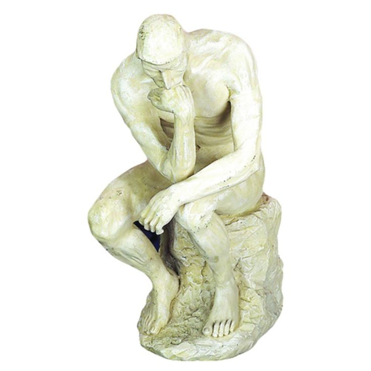DecMode 6W x 12H in. Distressed Beige Polystone Thinking Man Sculpture - 75138