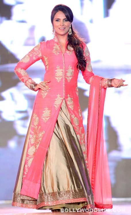 "Lara Dutta walks for ""support the girl child"" initiative in a Manish Malhotra lehenga"