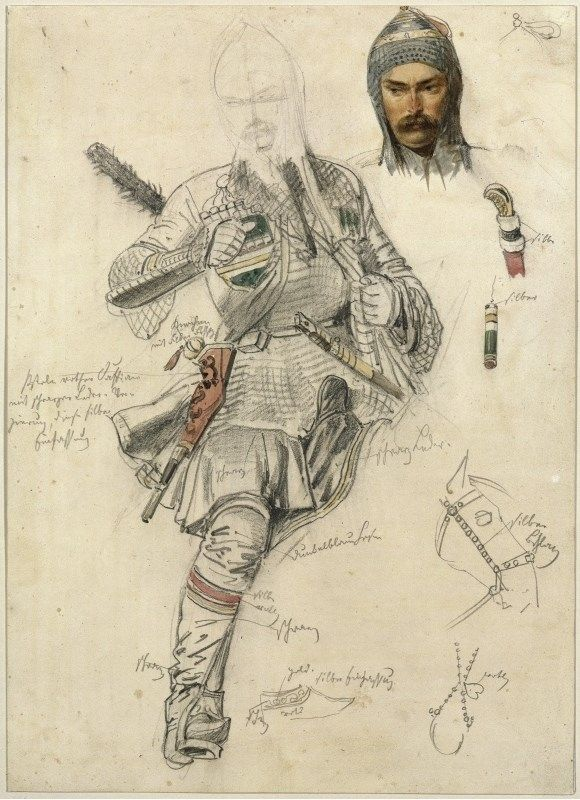 Drawing: Tscherkesse (Circassian Cavalryman), Franz Krüger, 1857. [Pencil and water-colour; 36.5 x 26.5 cm.] Provenance: State Museum of Berlin.