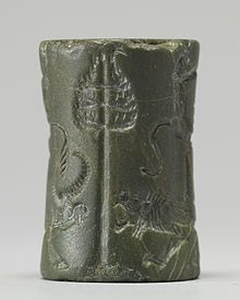 """Cylinder Seal with King or God and Vanquished Lion"" (Old Akkadian).[36] The Walters Art Museum."