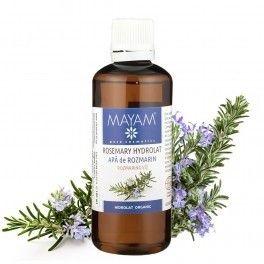 Apa de rozmarin bio. Pentru curățarea și îngrijirea tenului gras sau acneic, netezește, curăță și purifică pielea. Stimulează microcirculația, calmează scalpul, desfundă porii, astringent.