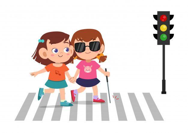 Garoto Menina Ajuda Cego Amigo Atravessar Estrada Kids App Design Kids Clipart Cartoon Kids