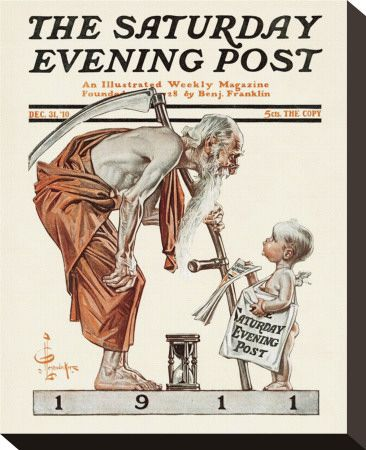 New Year's Baby 1911: Father Time, The Saturday Evening Post (December 31, 1910) by J.C. Leyendecker