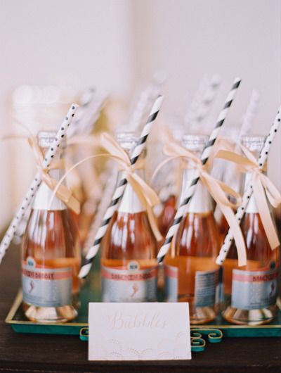 Bubbles as favors: http://www.stylemepretty.com/living/2014/10/03/ladies-brunch/ | Photography: Jessica Burke - http://www.jessicaburke.com/