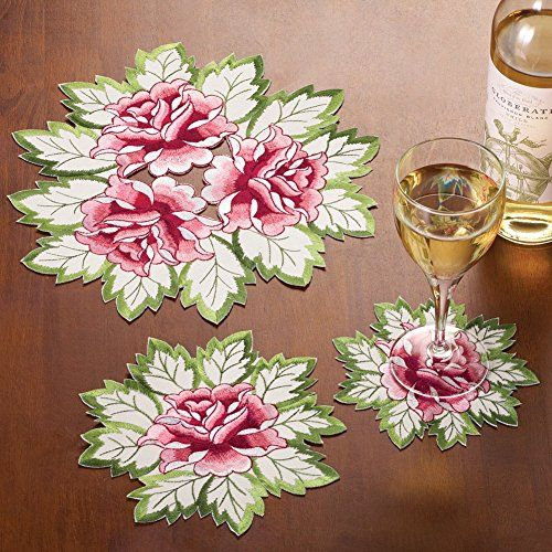 Embroidered Floral Rose Table 3 Dollies