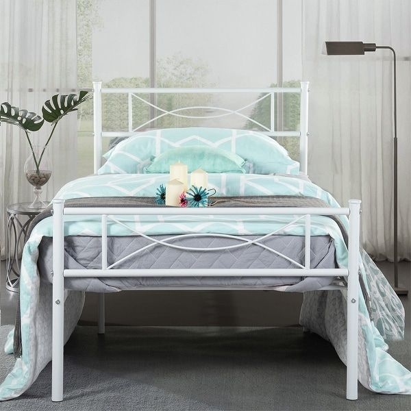 Easy To Assemble Bed Frame Platform With Under Bed Storage Twin