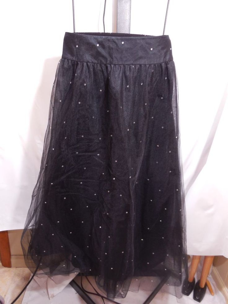 MISSES BLACK TULLE RHINESTONE EMBELLISHED PRINCESS SKIRT TALBOTS COLLECTION 16 #TalbotsCollection #FullSkirt