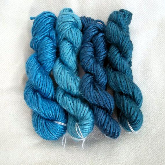 Silk Yarn - Mini Skeins - Set B - Blues
