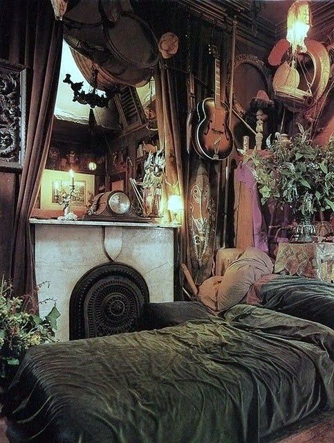 grunge eclectic, earthy room, clutter, fire place, bedroom