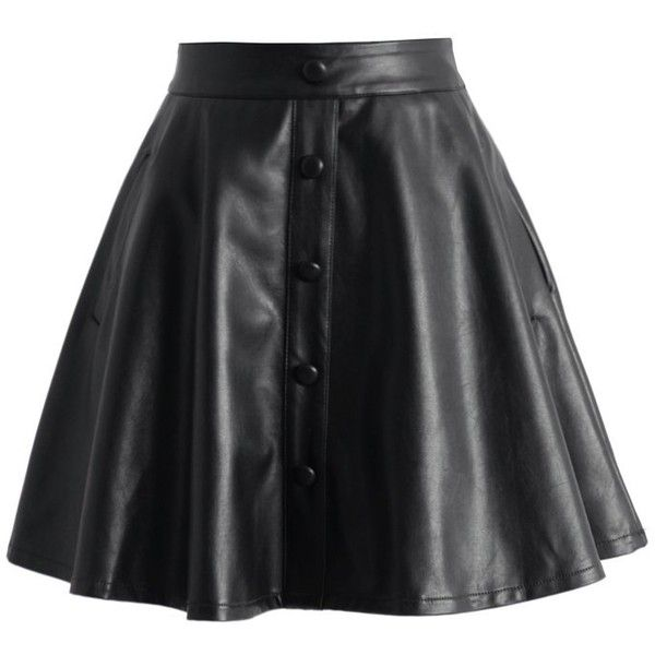 Chicwish Nappa Faux Leather A-line Skirt in Black ($42) ❤ liked on Polyvore featuring skirts and black
