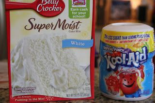 Kool-Aid Cupcakes ADD 1 packet koolaid to cake mix, add 1 tsp koolaid & 1 C whip topping to frosting. Yum